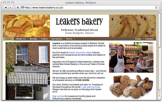Leakers Bakery website