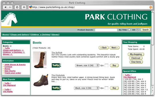 Park Clothing website